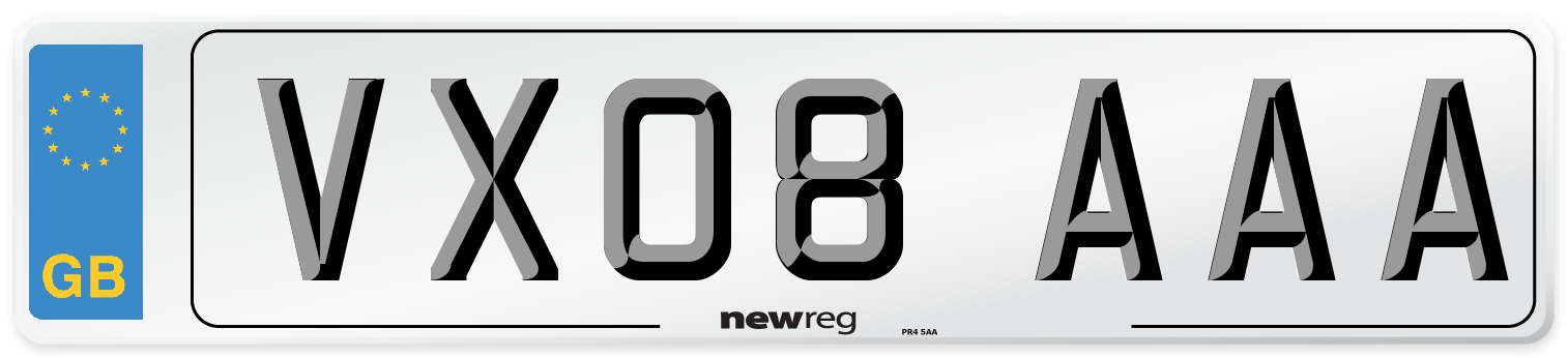 VX08 AAA Number Plate from New Reg